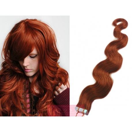 Vlnité vlasy pro metodu Pu Extension / Tape Hair / Tape IN 60cm - měděná
