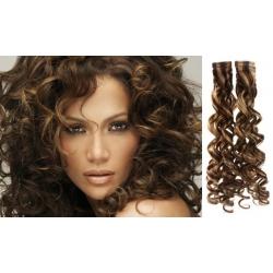 Kučeravé vlasy pre metódu Pu Extension / Tapex / Tape Hair / Tape IN 60cm – tmavý melír