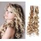 Kudrnaté vlasy pro metodu Pu Extension / Tape Hair / Tape IN 60cm - platina / světle hnědá