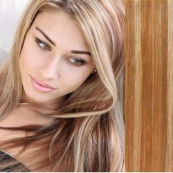 Clip in vlasy 43cm 100% ľudské remy - EXTRA 100g – svetlý melír