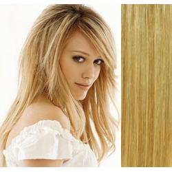 Clip in vlasy 43cm 100% ľudské remy - EXTRA 100g – prírodná / svetlejšia blond