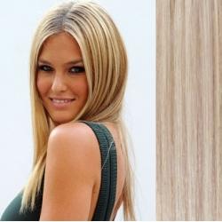 Clip in vlasy 43cm 100% ľudské remy - EXTRA 100g – platina / svetlo hnedá