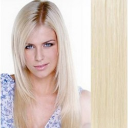 Clip in vlasy 53cm 100% ľudské - REMY 100g – PLATINA