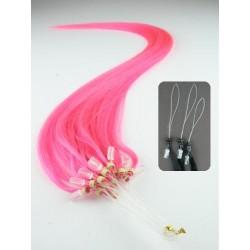 Vlasy európskeho typu k predlžovaniu micro ring 60cm – pink