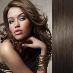 Clip in vlasy 53cm 100% ľudské - REMY 100g – TMAVO HNEDÁ