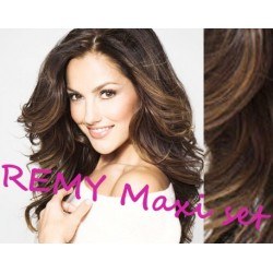 "Wavy clip in maxi set 20"" (53cm) human hair - REMY 200g – medium brown"