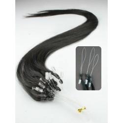 Vlasy európskeho typu k predlžovaniu micro ring 60cm – prírodná čierna