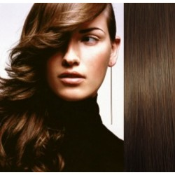 Clip in vlasy 63cm 100% lidské – REMY 120g – STŘEDNĚ HNĚDÁ