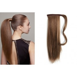 Clip in príčesok cop / vrkoč 100% ľudské vlasy 50cm – stredne hnedá