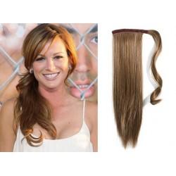 Clip in príčesok cop / vrkoč 100% ľudské vlasy 50cm – svetlo hnedá