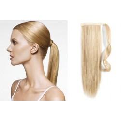 Clip in príčesok cop / vrkoč 100% ľudské vlasy 50cm – najsvetlejšia blond