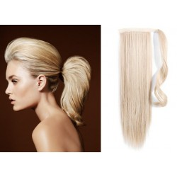 Clip in príčesok cop / vrkoč 100% ľudské vlasy 50cm – platina