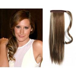 Clip in príčesok cop / vrkoč 100% ľudské vlasy 50cm – tmavý melír