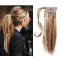 Clip in príčesok cop / vrkoč 100% ľudské vlasy 50cm – svetlý melír