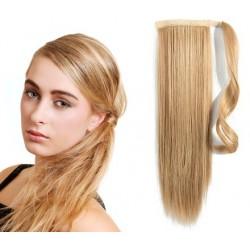 Clip in príčesok cop / vrkoč 100% ľudské vlasy 50cm – prírodná / svetlejšia blond
