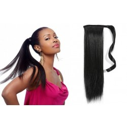 Clip in príčesok cop / vrkoč 100% ľudské vlasy 60cm – čierna