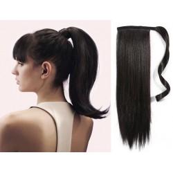 Clip in príčesok cop / vrkoč 100% ľudské vlasy 60cm – prírodná čierna