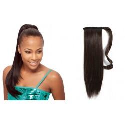 Clip in príčesok cop / vrkoč 100% ľudské vlasy 60cm – tmavo hnedá