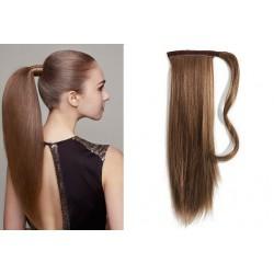 Clip in príčesok cop / vrkoč 100% ľudské vlasy 60cm – stredne hnedá