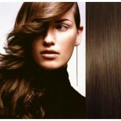 Clip in vlasy 53cm 100% ľudské - REMY 100g – STREDNE HNEDÁ