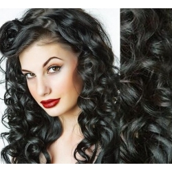 Vlnité clip in vlasy 53cm 100% ľudské - REMY 100g – čierna