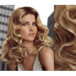 Clip in vlnité vlasy pravé lidské REMY 53cm - přírodní/světlejší blond