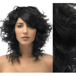 Kučeravé clip in vlasy 53cm 100% ľudské - REMY 100g – čierna