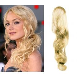 Vlnitý clip in príčesok cop / vrkoč 100% japonský kanekalon 60cm – najsvetlejšia blond
