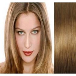 Clip in vlasy 53cm 100% lidské – REMY 100g – SVĚTLE HNĚDÁ