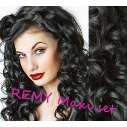 Vlnitý clip in maxi set 53cm pravé ľudské vlasy - REMY 200g - čierna