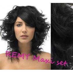 Kučeravý clip in maxi set 53cm pravé ľudské vlasy - REMY 200g – čierna