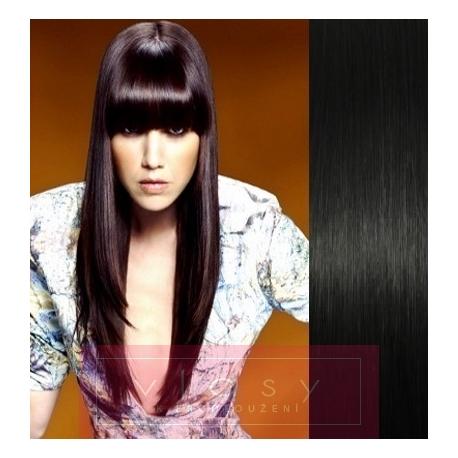 Clip in ofina - REMY 100% ľudské vlasy - čierna 791d42d8403