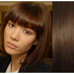 Clip in ofina - REMY 100% ľudské vlasy – stredne hnedá