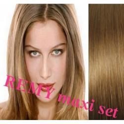 Clip in maxi set 53cm pravé lidské vlasy – REMY 200g – SVĚTLE HNĚDÁ