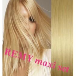 Clip in maxi set 53cm pravé lidské vlasy – REMY 200g – SVĚTLEJŠÍ BLOND