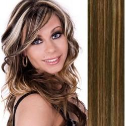 Clip in vlasy 53cm 100% ľudské - REMY 100g – TMAVÝ MELÍR