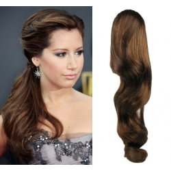 Vlnitý clip in príčesok cop / vrkoč 100% ľudské vlasy 50cm – stredne hnedá