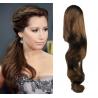 Clip in příčesek culík/cop 100% lidské vlasy 60cm vlnitý - středně hnědý